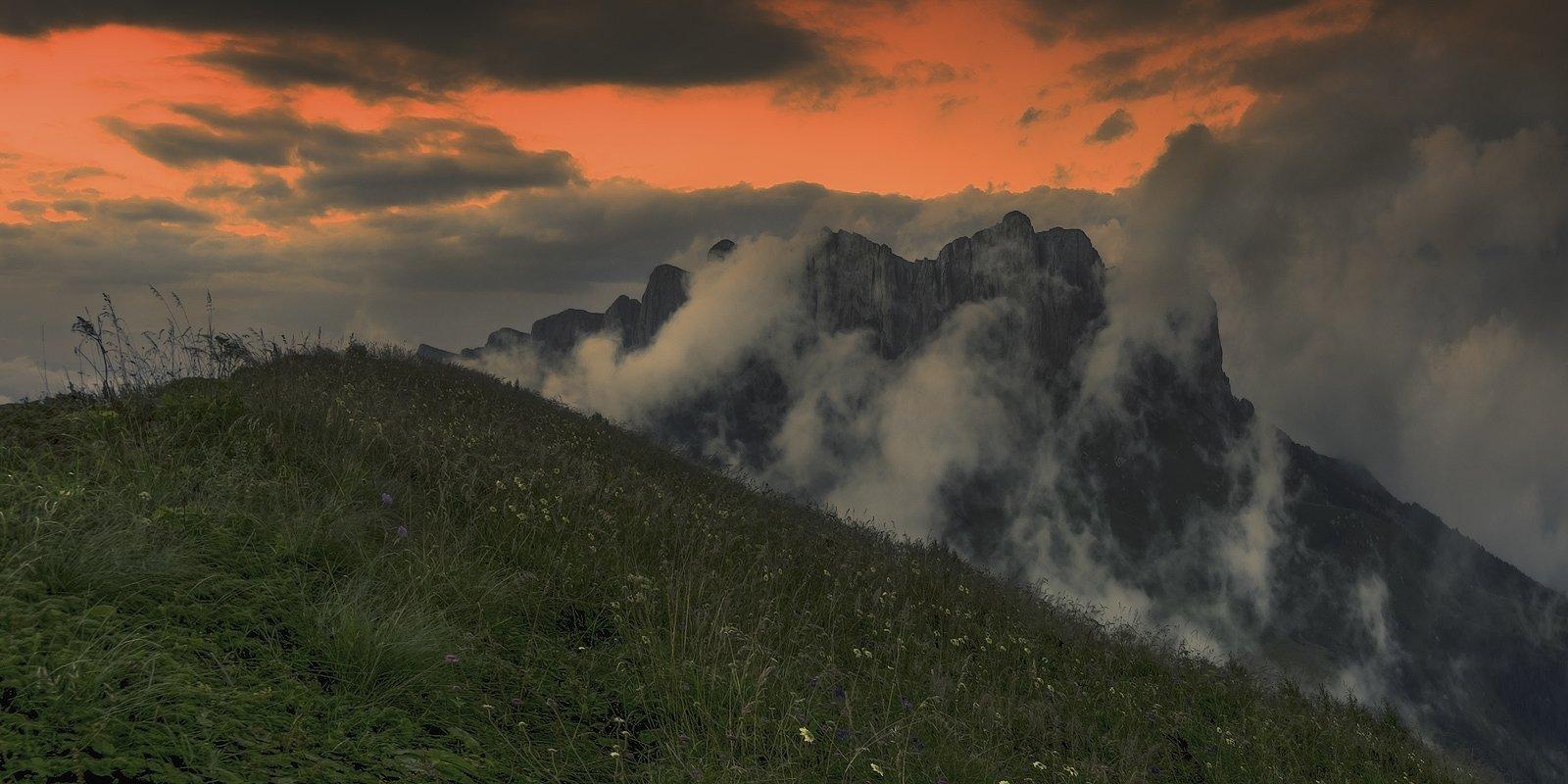 горы, кавказ, закат, ФЁДОР