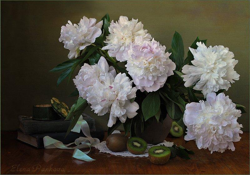 цветы, белые, пионы, киви, Elena Pankova