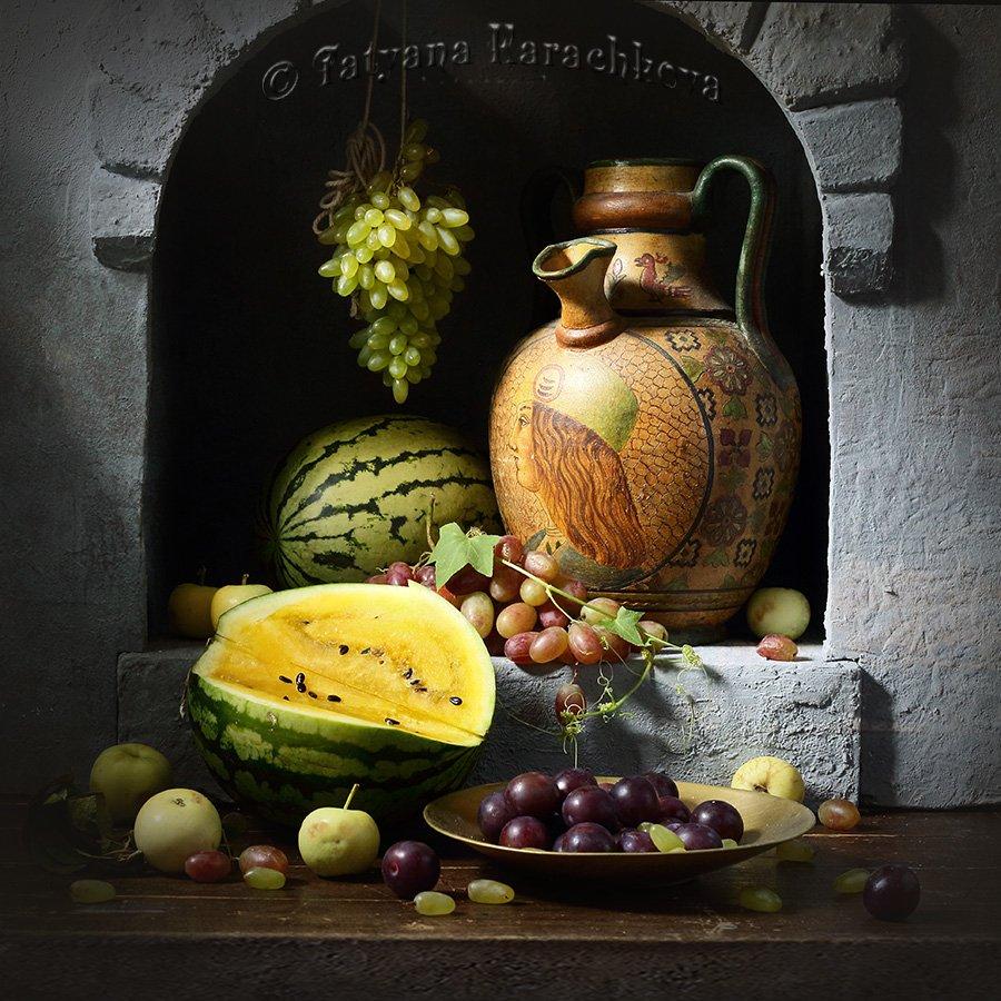 натюрморт, ниша, арбуз, виноград, кувшин, Karachkova Tatyana