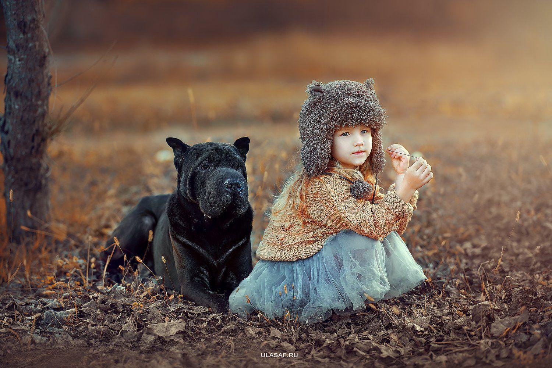 art photo, портрет, осень, sunset, закат, autumn, ребенок, дети, девочка, girl, деревня, животное, собака, шарпей, dog, малыш, друзья, 105mm, kid, children, beautiful, Юлия Сафо