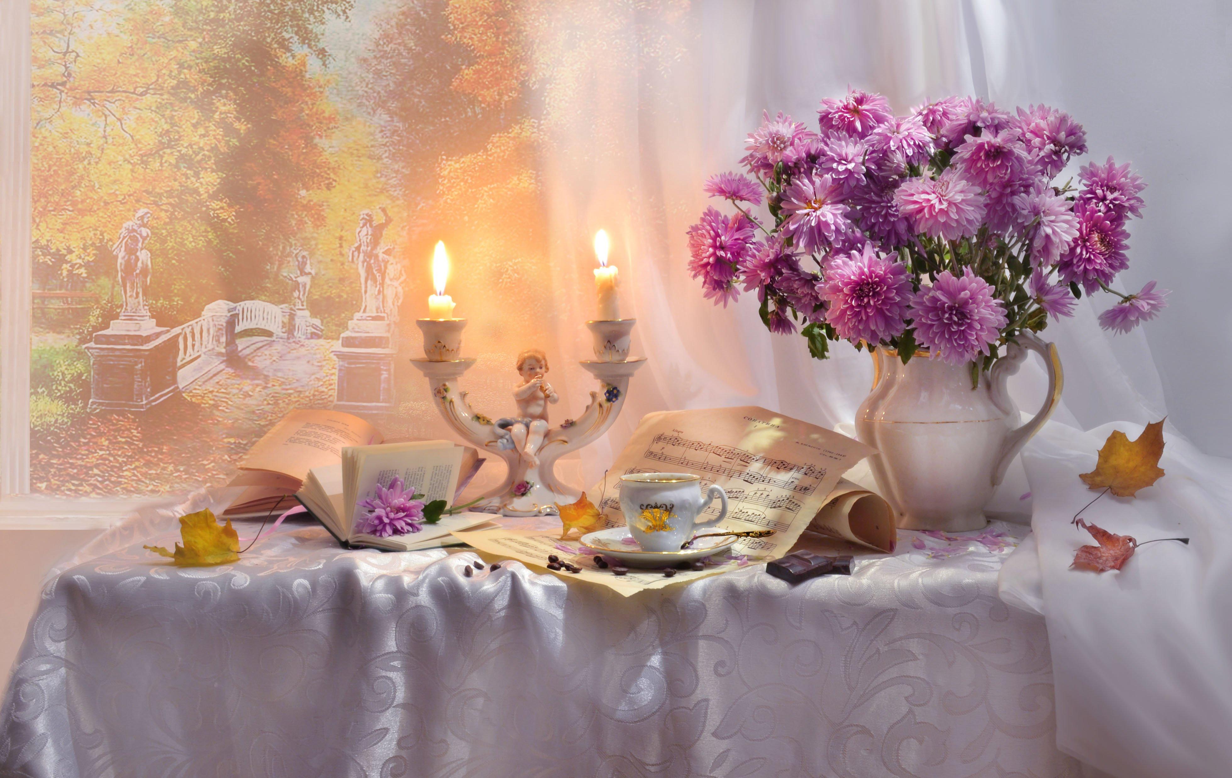 still life, натюрморт, цветы, хризантемы, фото натюрморт, стихи, свечи, книги, картина маслом, ноты, чашка кофе, подсвечник, осень, октябрь, шоколад, кленовые листья,, Колова Валентина