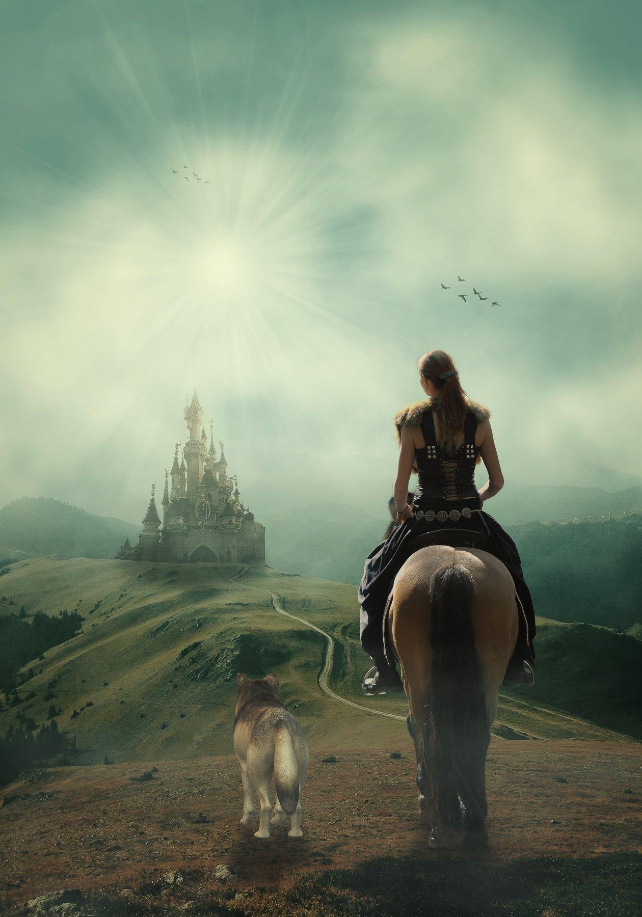 всадница, волк, замок, поле, Sergii Vidov
