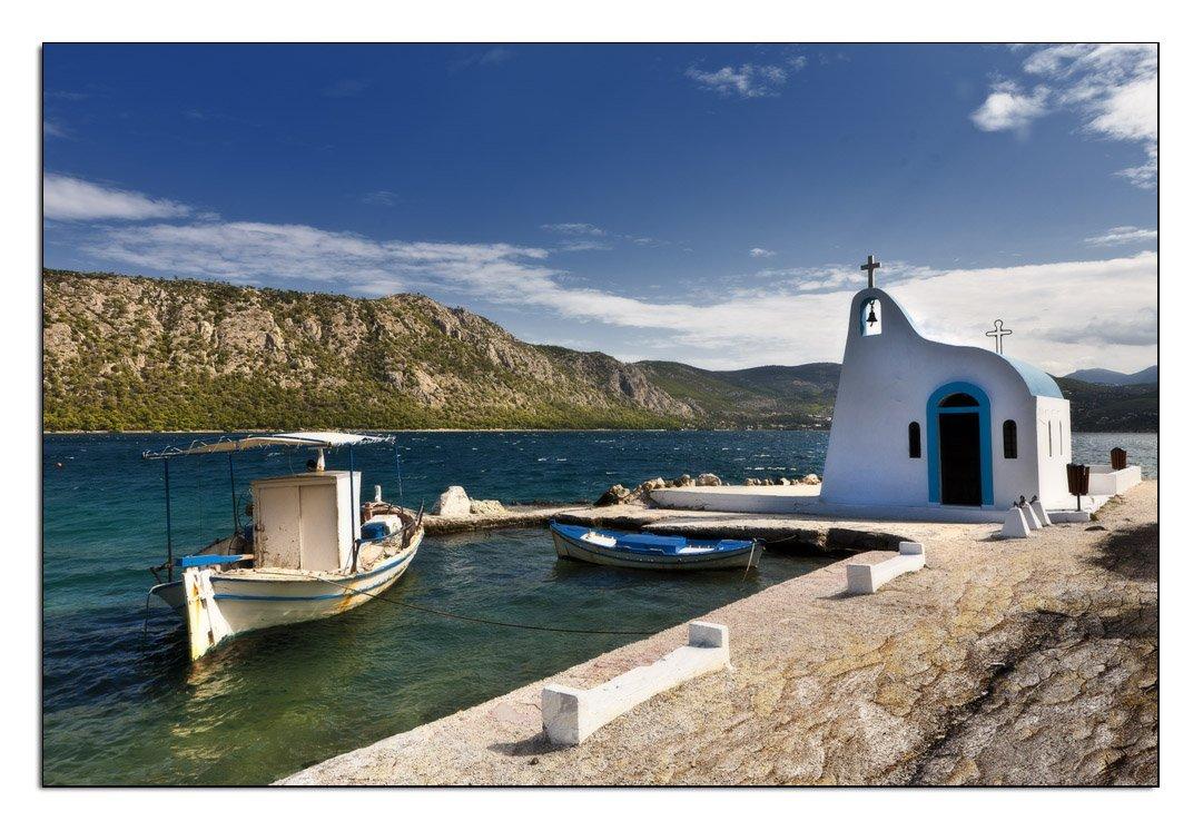 греция, лутраки, море, лодка, Владимир K.