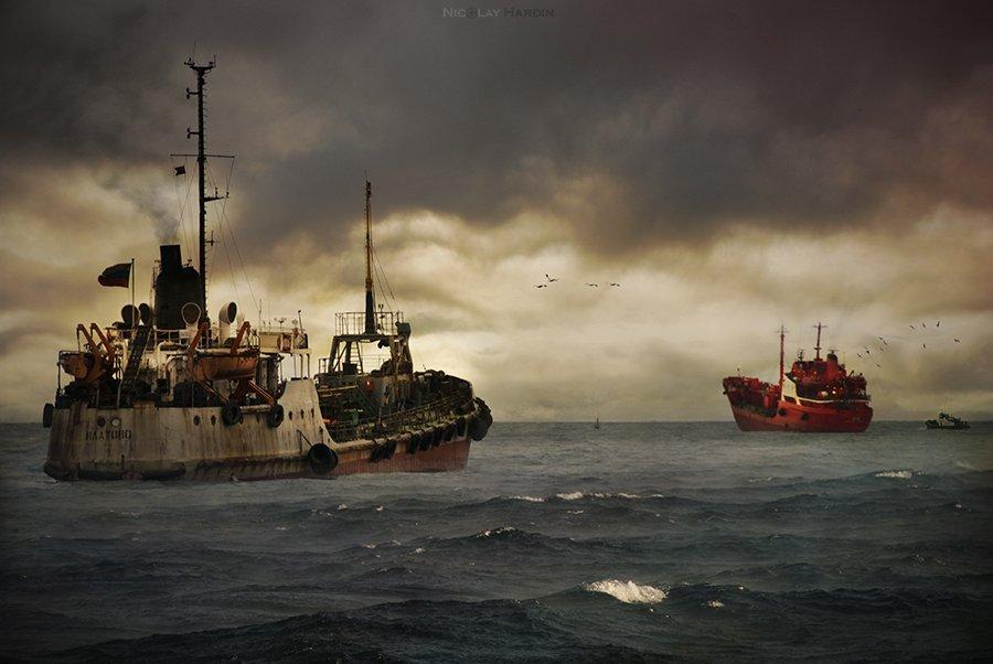 японское, море, корабли, шторм, Nicolay Hardin