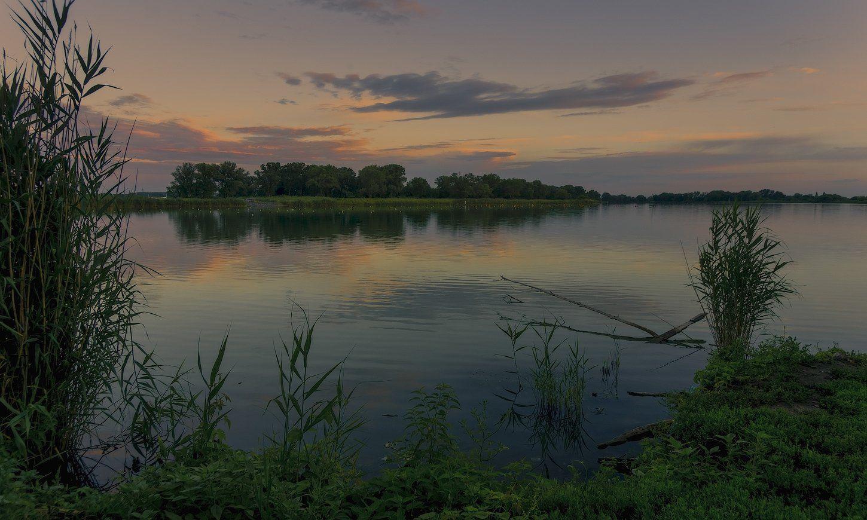 кубань, река, парк, закат , лето, ФЁДОР