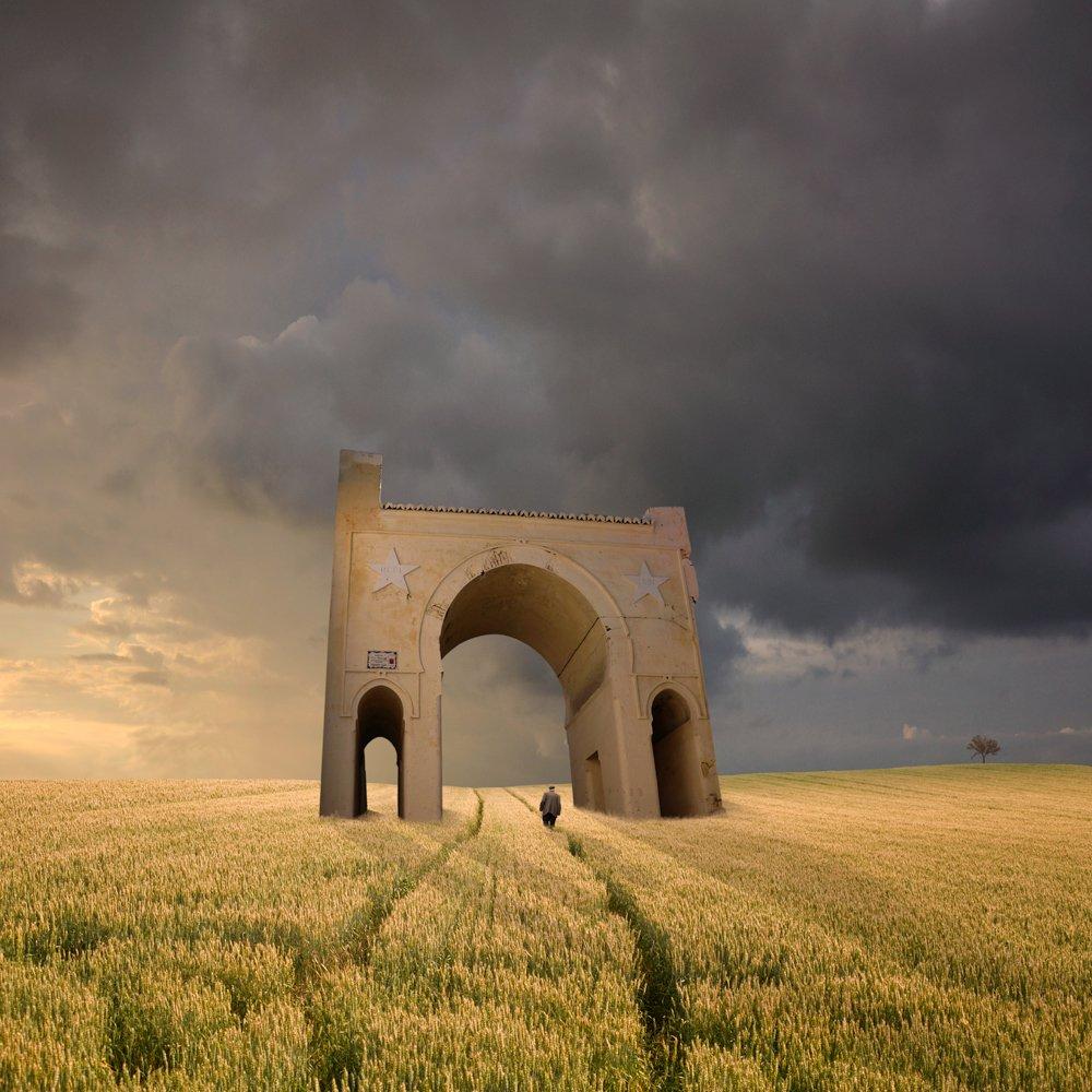 field, sky, reflection, light, clouds, tree, temple, shadow, man, wheat, walking, ground, journey, grain, portal, Caras Ionut