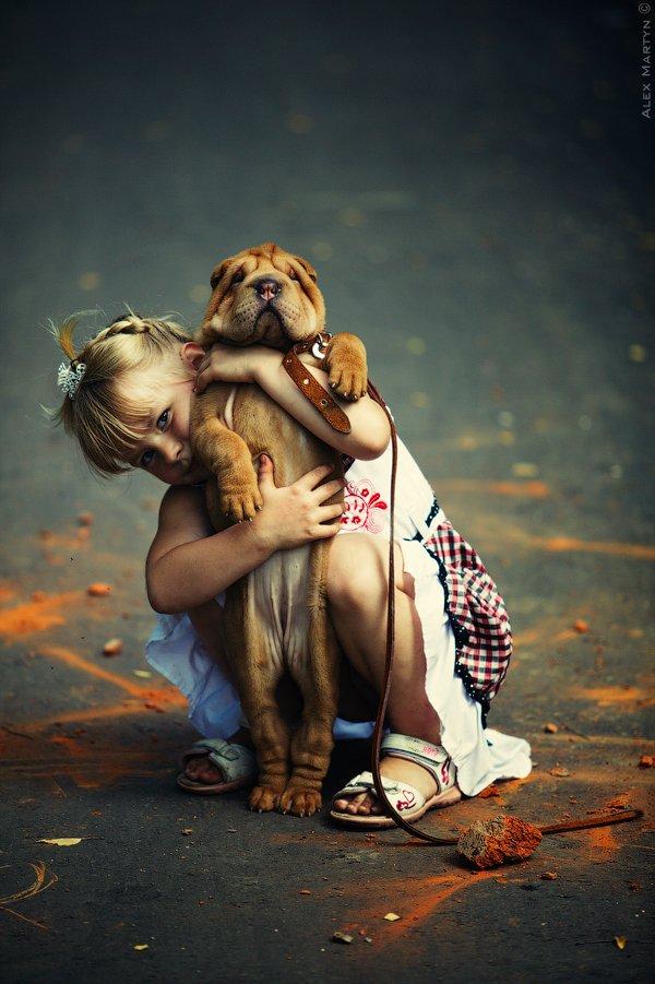 девочка, дети, щенок, шарпей, радость, Alexander Martynov