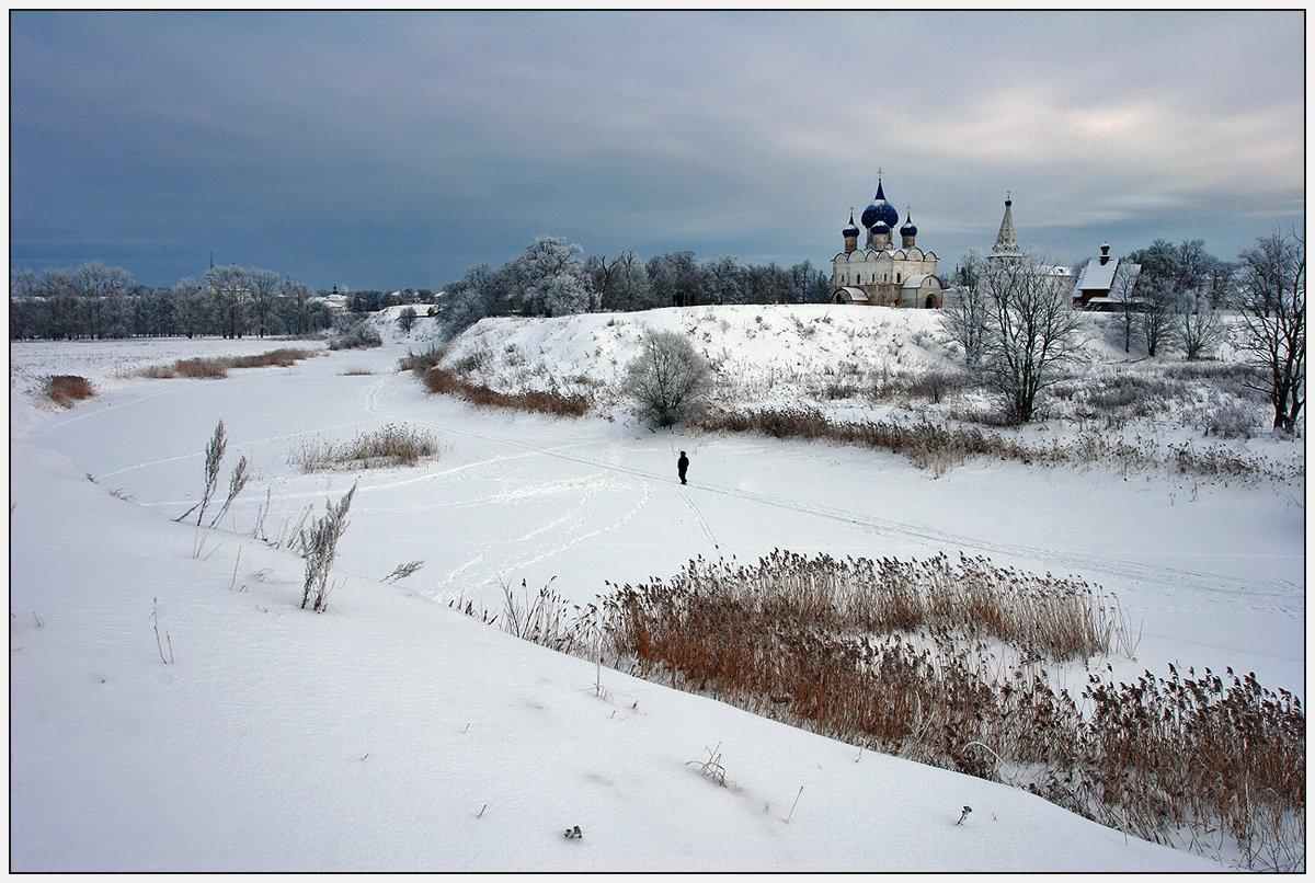 зима, река, церковь, человек, Олег Дунаев