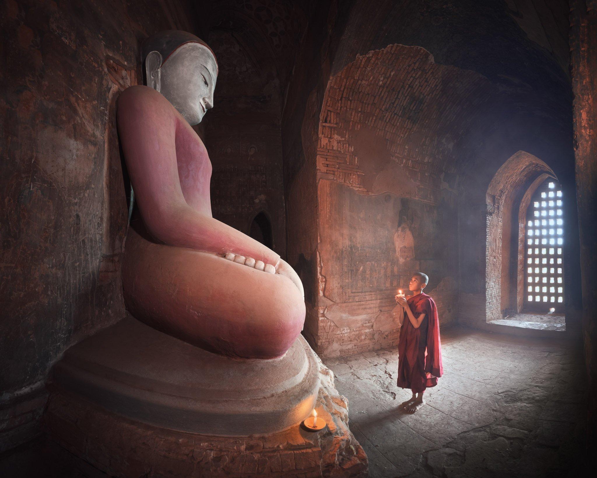 ancient, archeological, architecture, asia, asian, bagan, belief, buddha, buddhism, buddhist, burma, burmese, candle, children, culture, destination, faith, history, inside, interior, kid, landmark, light, little, man, meditation, monastery, monk, myanmar, Omelyanchuk Andrey