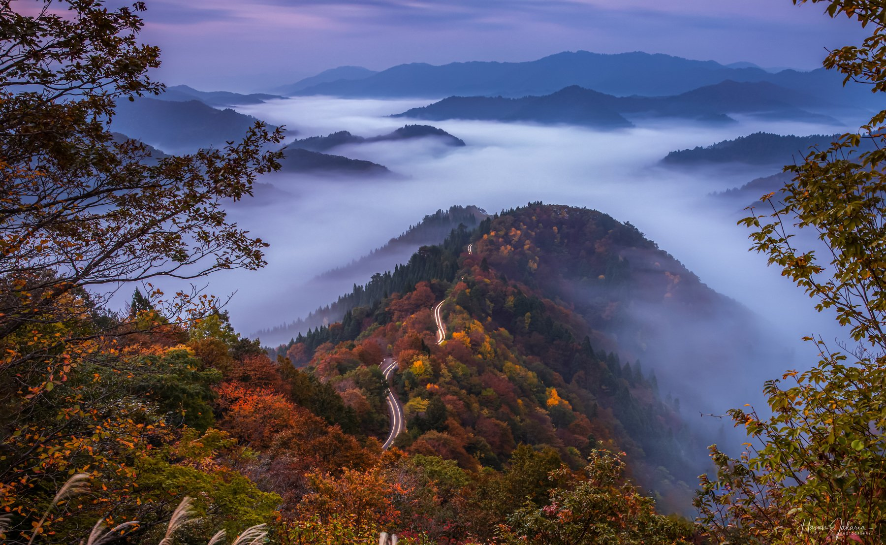 nature landscape japan mountain morning  autumn colors foggy, Hasan Jakaria