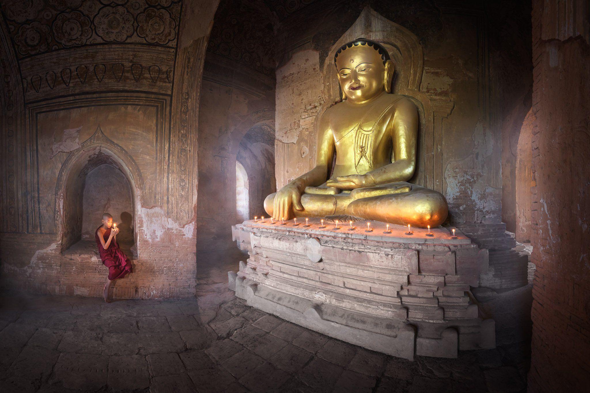 ancient, archeological, architecture, asia, asian, bagan, belief, buddha, buddhism, buddhist, burma, burmese, candle, children, culture, destination, faith, gold, golden, inside, interior, kid, landmark, light, little, man, meditation, monastery, monk, my, Omelyanchuk Andrey