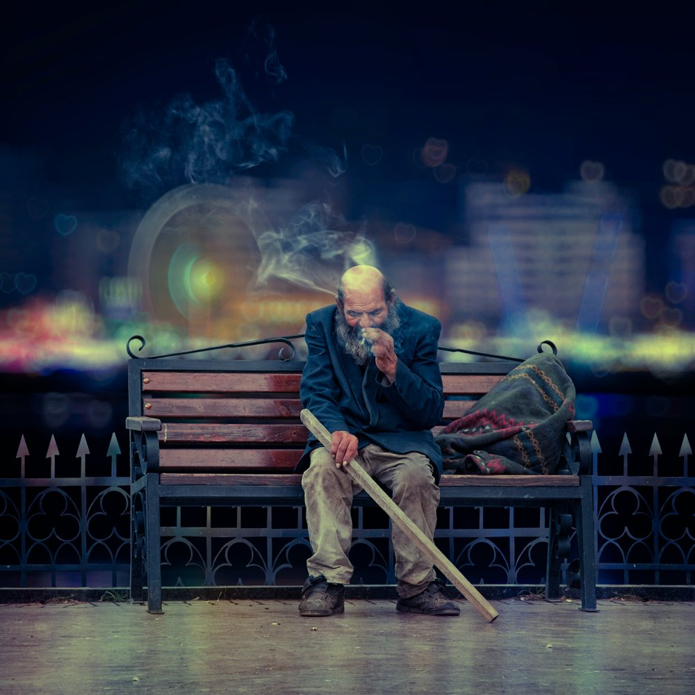city, reflection, light, old, bench, man, alone, smoke, hearts, bags, Caras Ionut