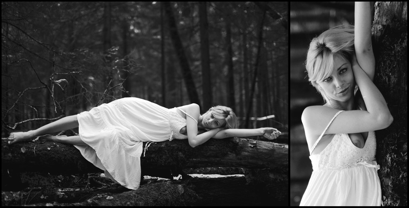 april, spring, black & white, blonde, woods, forest, portrait, 50mm, canon, nature, smile, Mike Danilov