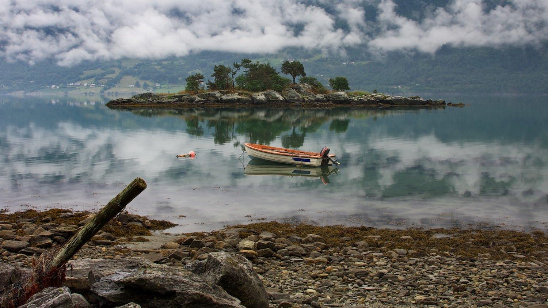 норвегия,июль,горы,озеро,вода,облака,лодка,фьёрд., СПИРИДОНОВ НИКОЛАЙ