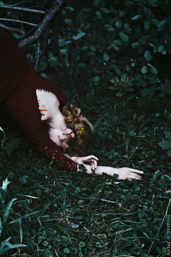 grass, earth, wood, print, flower, dark, death, despair, prostrate, fallen, sorrow, Natalia Drepina