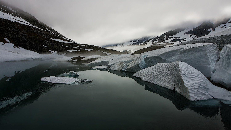 норвегия,июль,река,снег,облака,туман., СПИРИДОНОВ НИКОЛАЙ