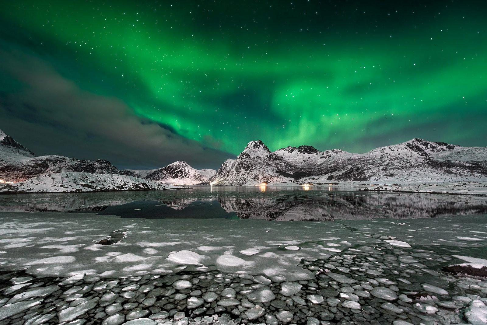 night, star, mysty, lofoten, light, seascape, mountains, ice,  frozen, aurora borealis, Bartłomiej Kończak