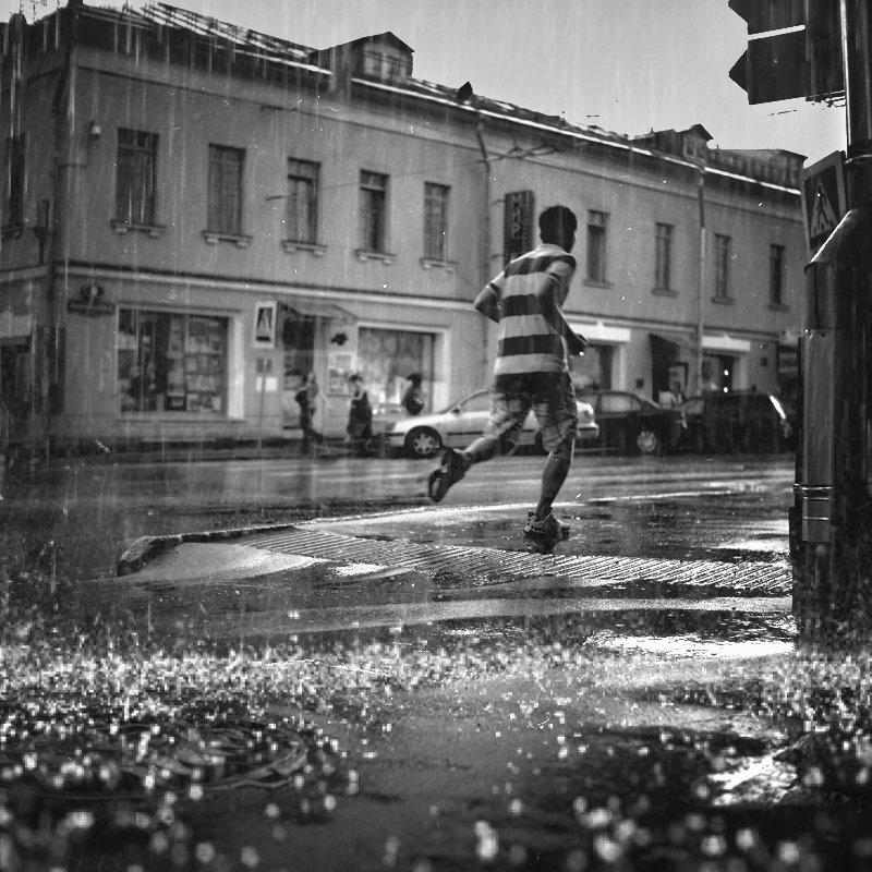 улицы, люди, москва, дождь, жанр, Илья