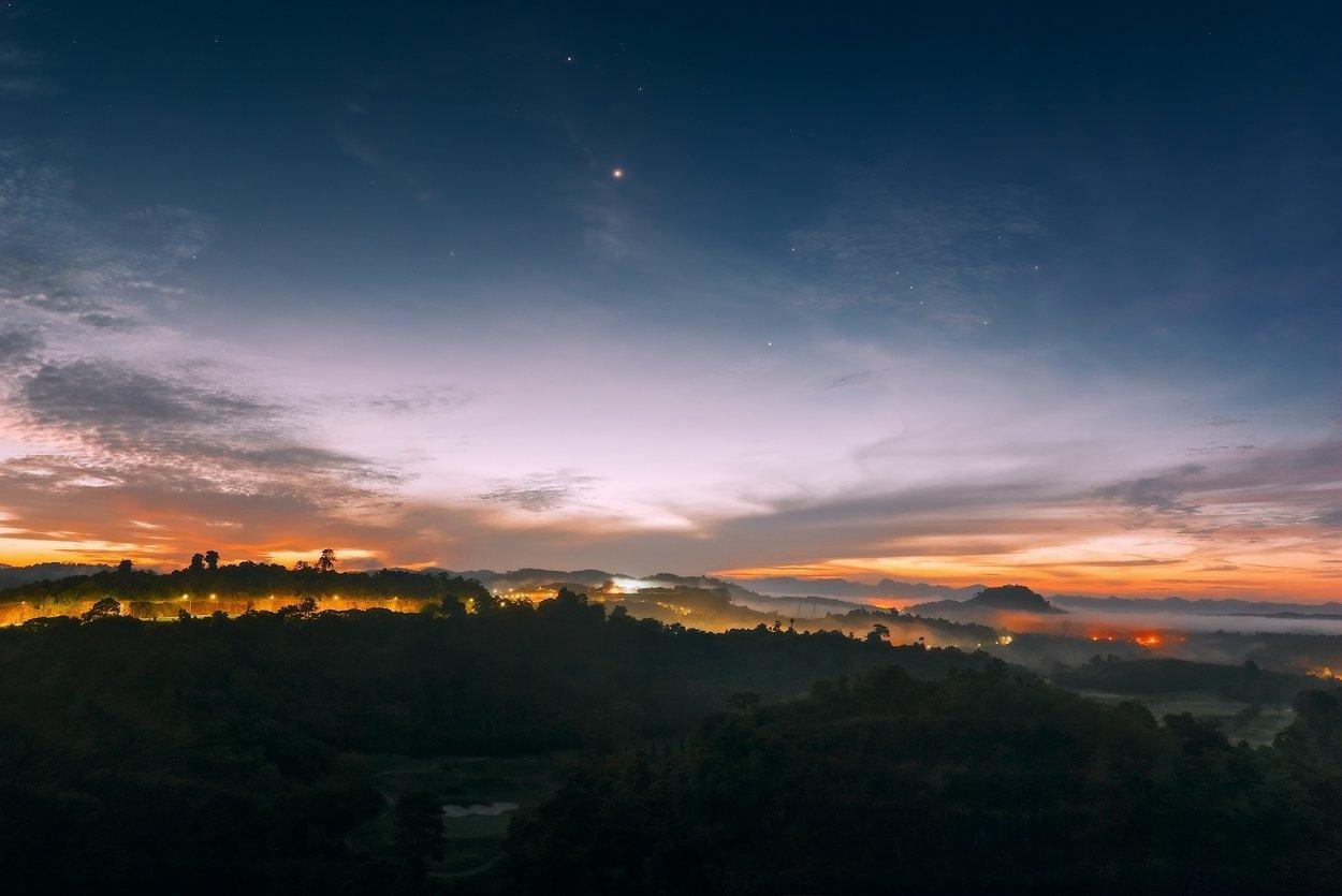 jupiter , khao sok , orion , stars , sunrise, thailand ,  venus, Boris Bogdanov