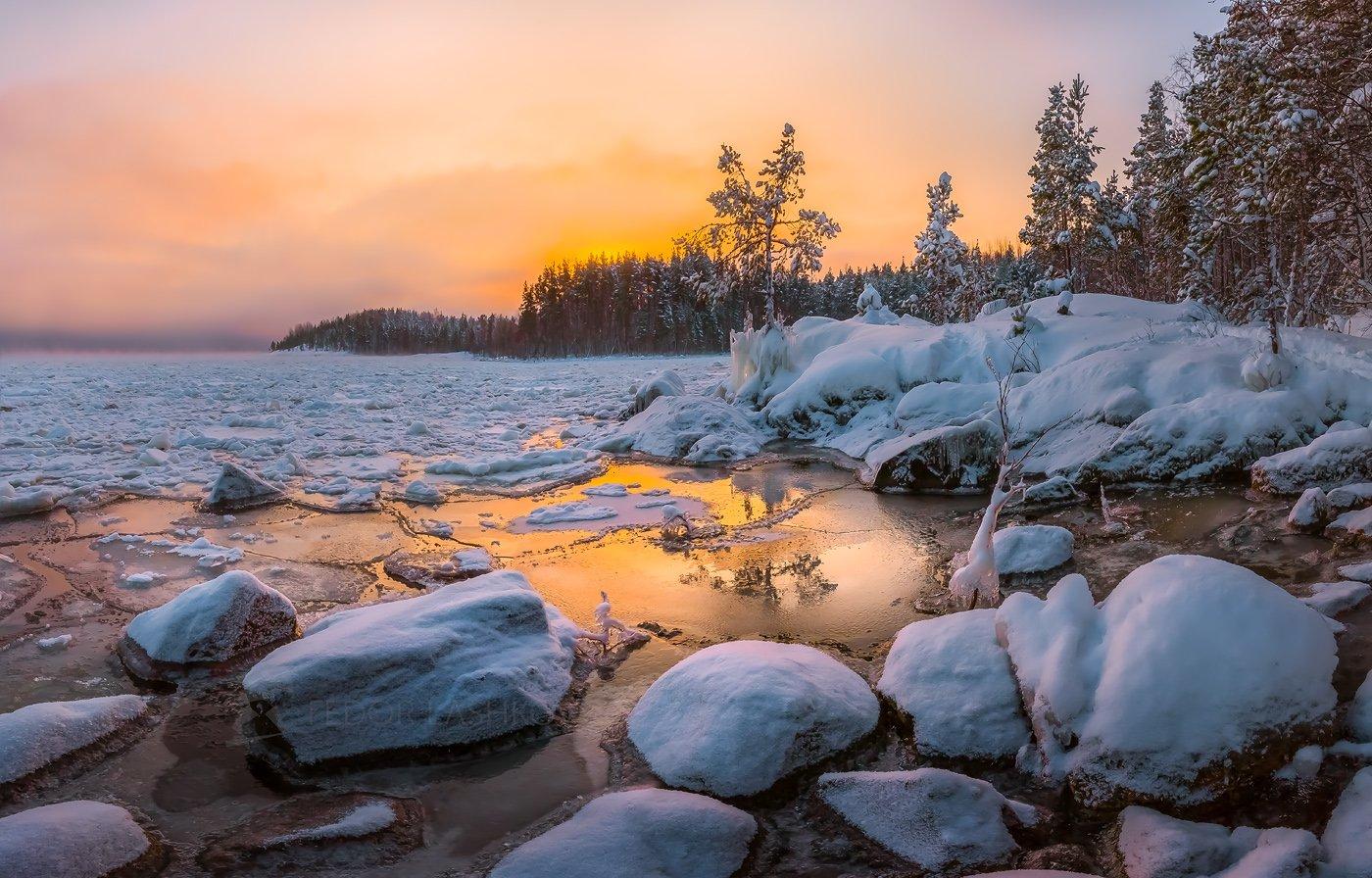 ладожское озеро, карелия, зима, сосна, в снегу, заснеженное, рассвет, облака, снег, зимнее, камни, лёд, льдины, отражение,, Лашков Фёдор