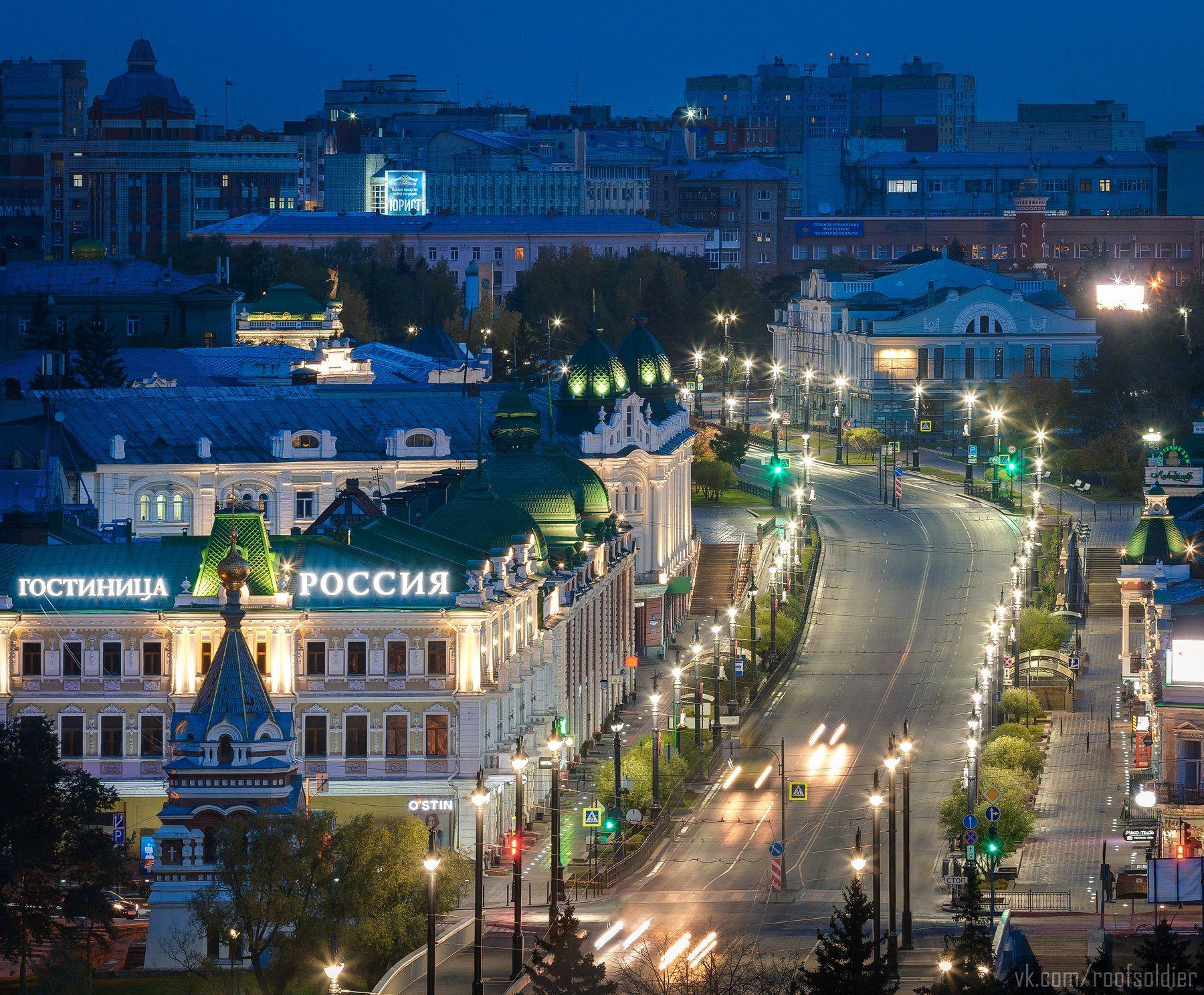 Омск, Россия, город, архитектура, крыша, пейзаж, ночь, Голубев Алексей