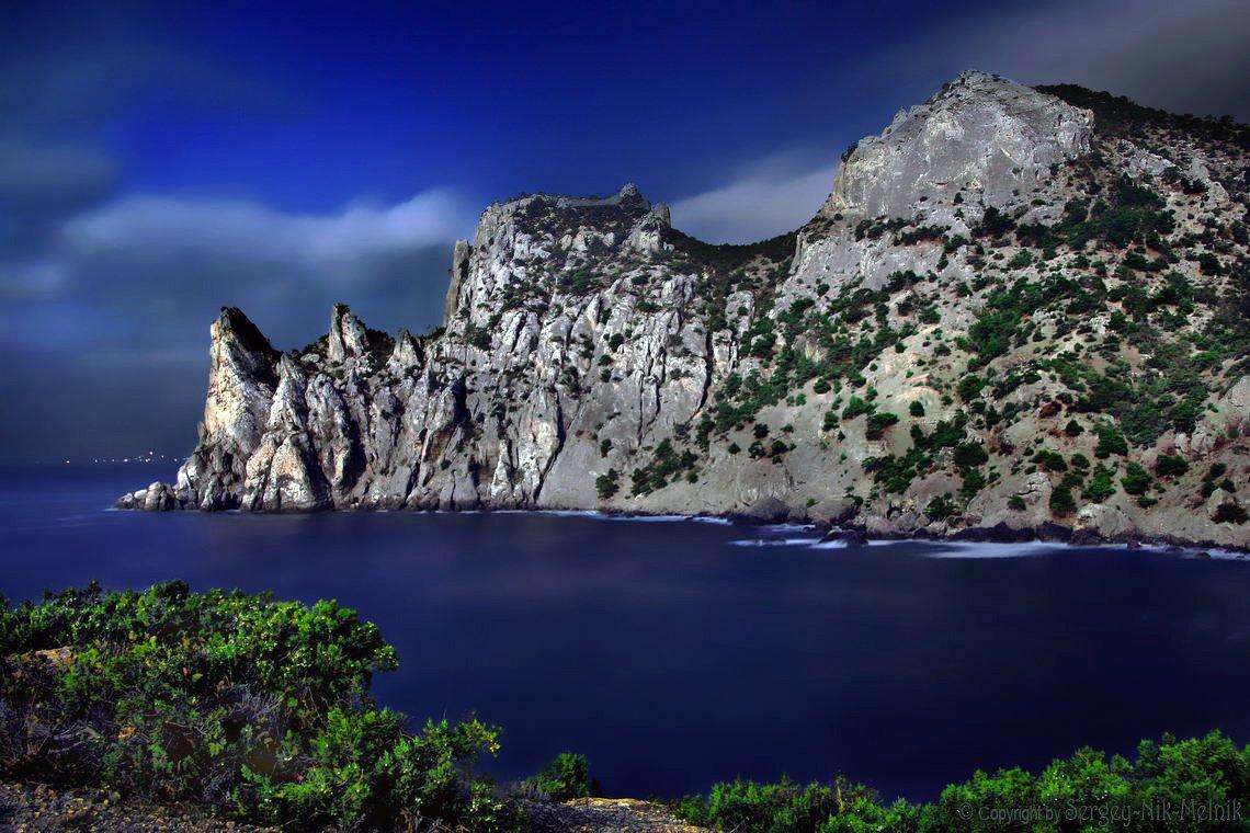 крым, новый-свет, пляж, море, ночь, луна, Serg-N- Melnik-oy