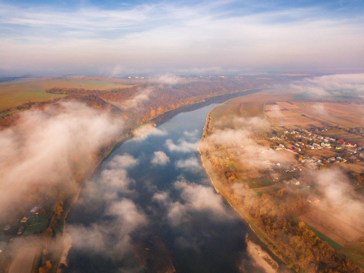 днестр, октябрь, осень, подолье, река, туман, утро, Вейзе Максим