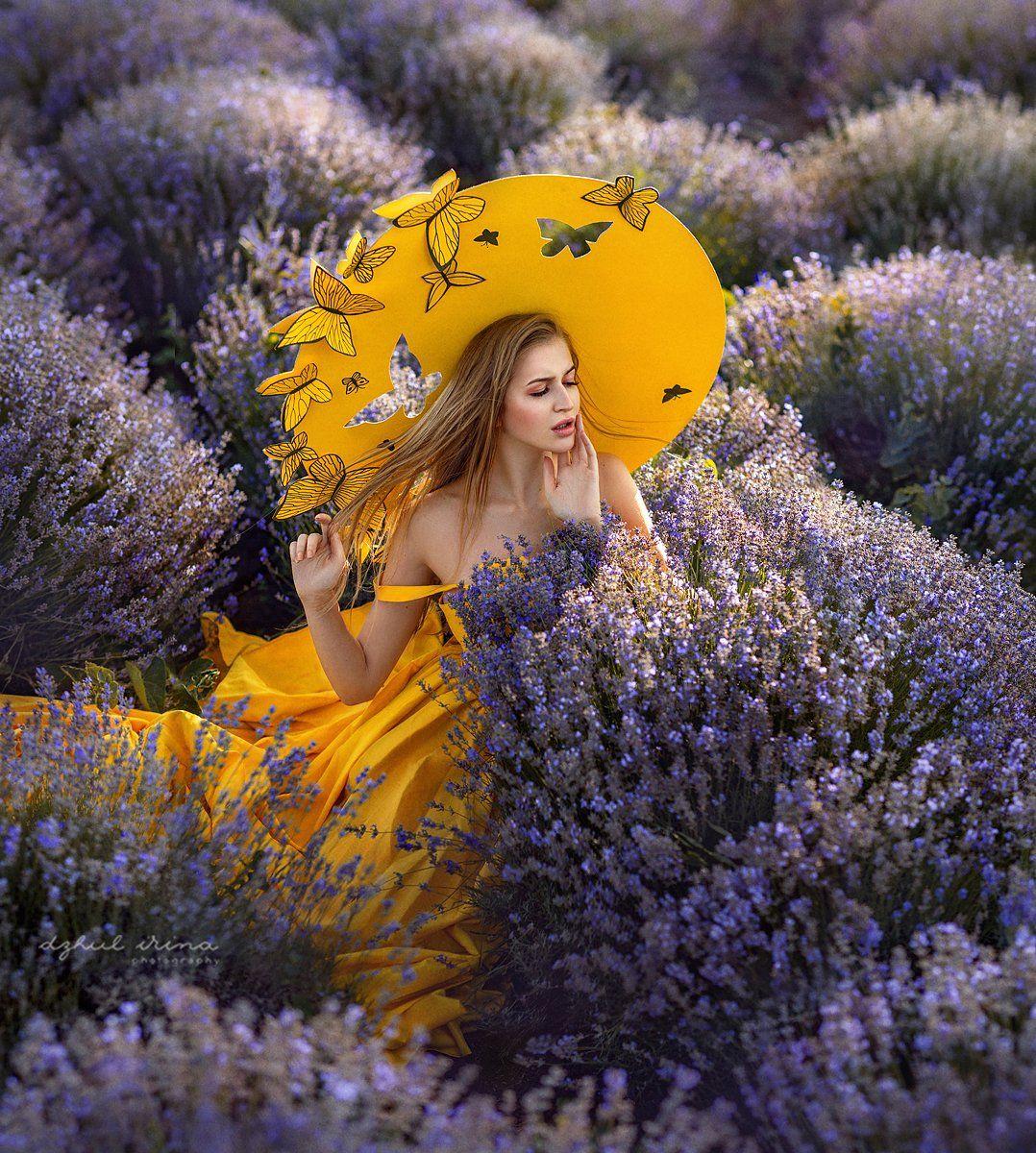 portreit people girl butterfly yellov lavender woman irinadzhul dzhulirina, Ирина Джуль