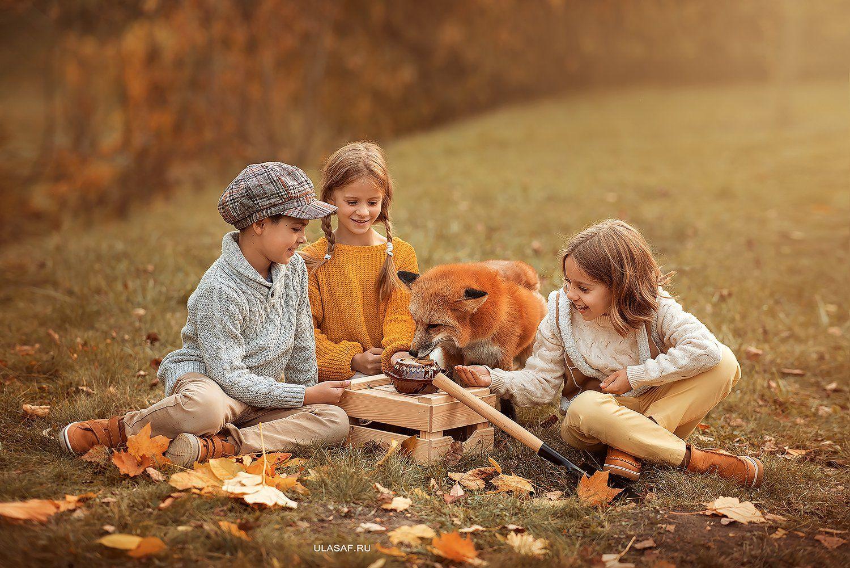 лиса, fox, art photo, art, портрет, осень, autumn, ребенок, девочка, girl, мальчик, boy, животное, радость, малыши, друзья, happy, любовь, love, 105mm, kid, children, beautiful, закат, people, eyes, face, red, Юлия Сафо