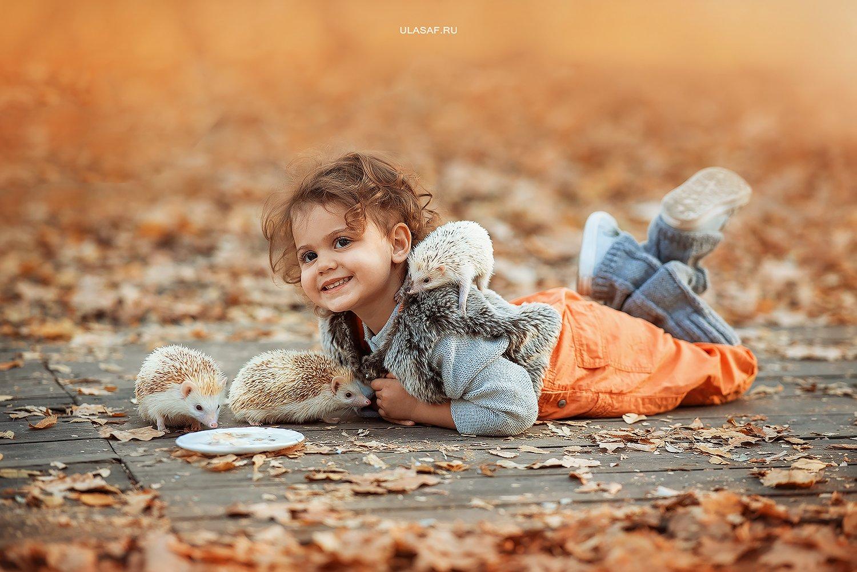 портрет, art, portrait, осень, sunset, закат, autumn, дети, девочка, girl, волшебство, magik, happy, nikon, 105mm, kid, children, beautiful, ежик, hedgehog, people, eyes, face, Юлия Сафо