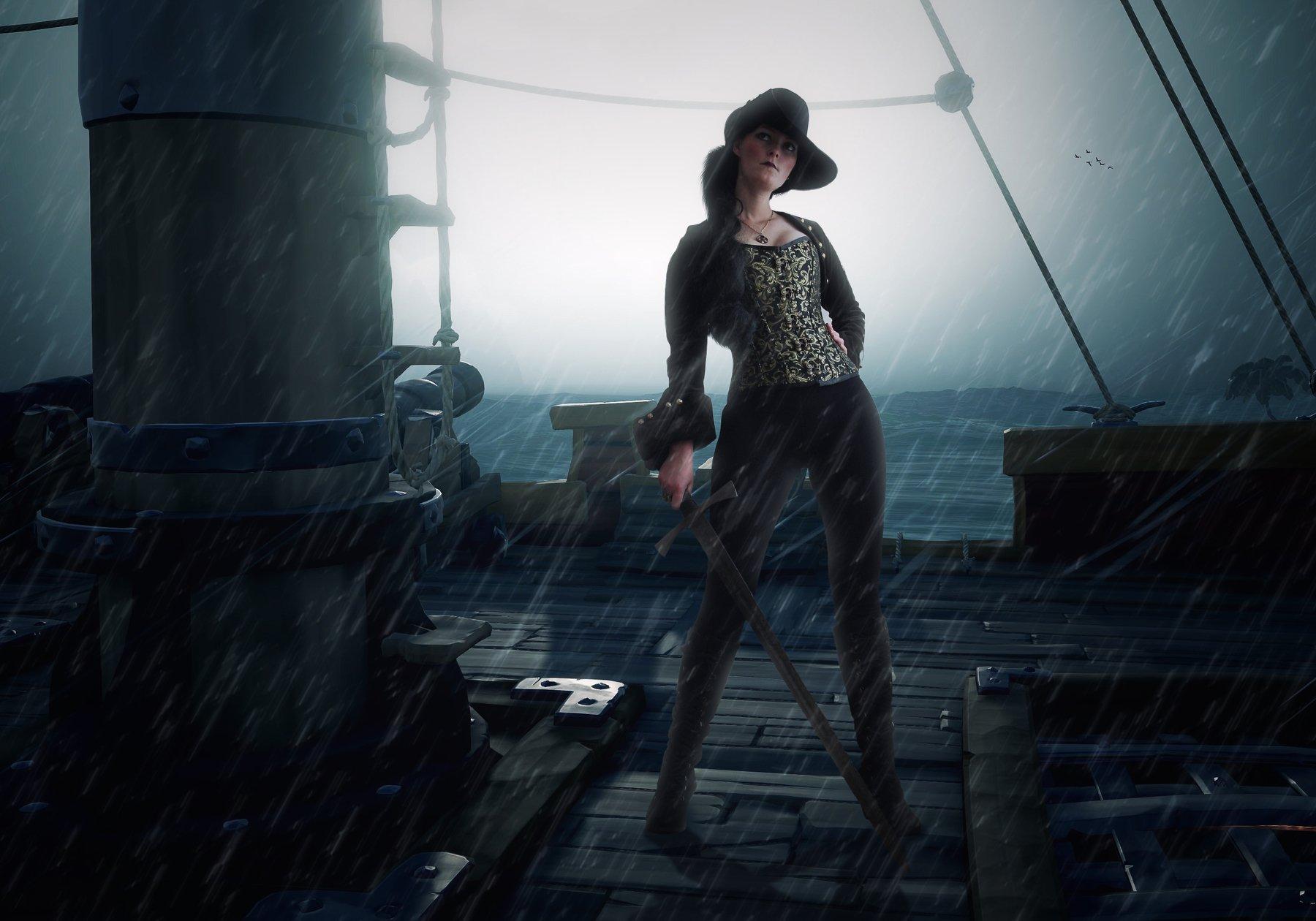 девушка, палуба, дождь, корабль, Sergii Vidov