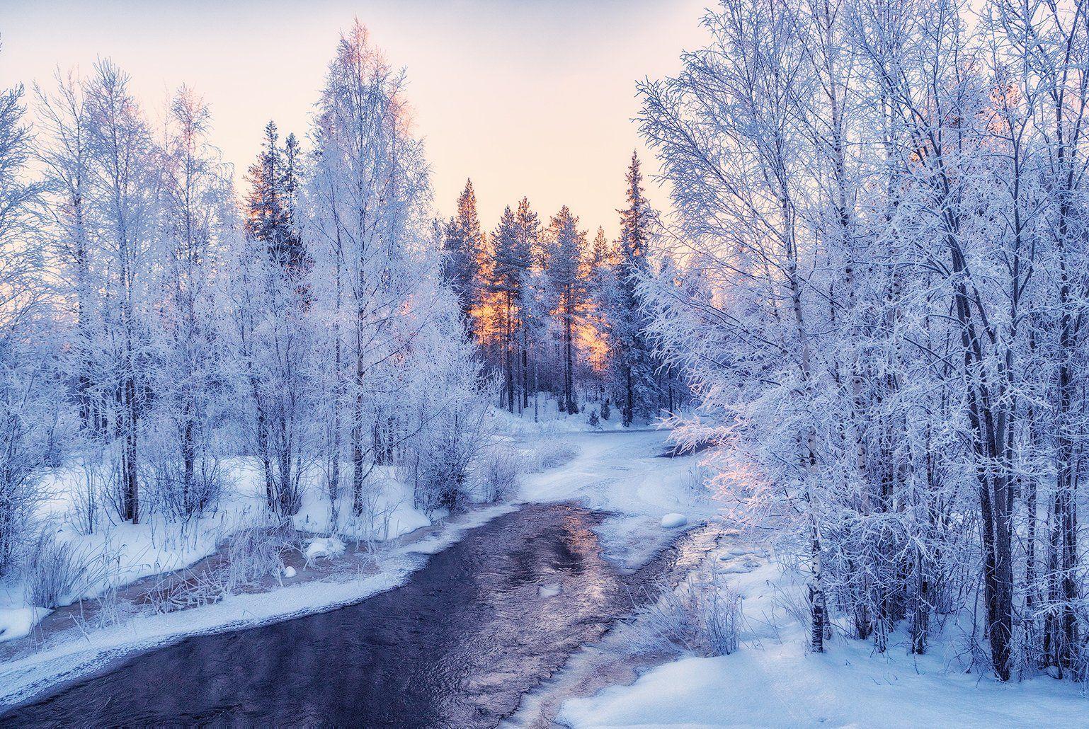 зима, карелия, речка., Липецких Владимир