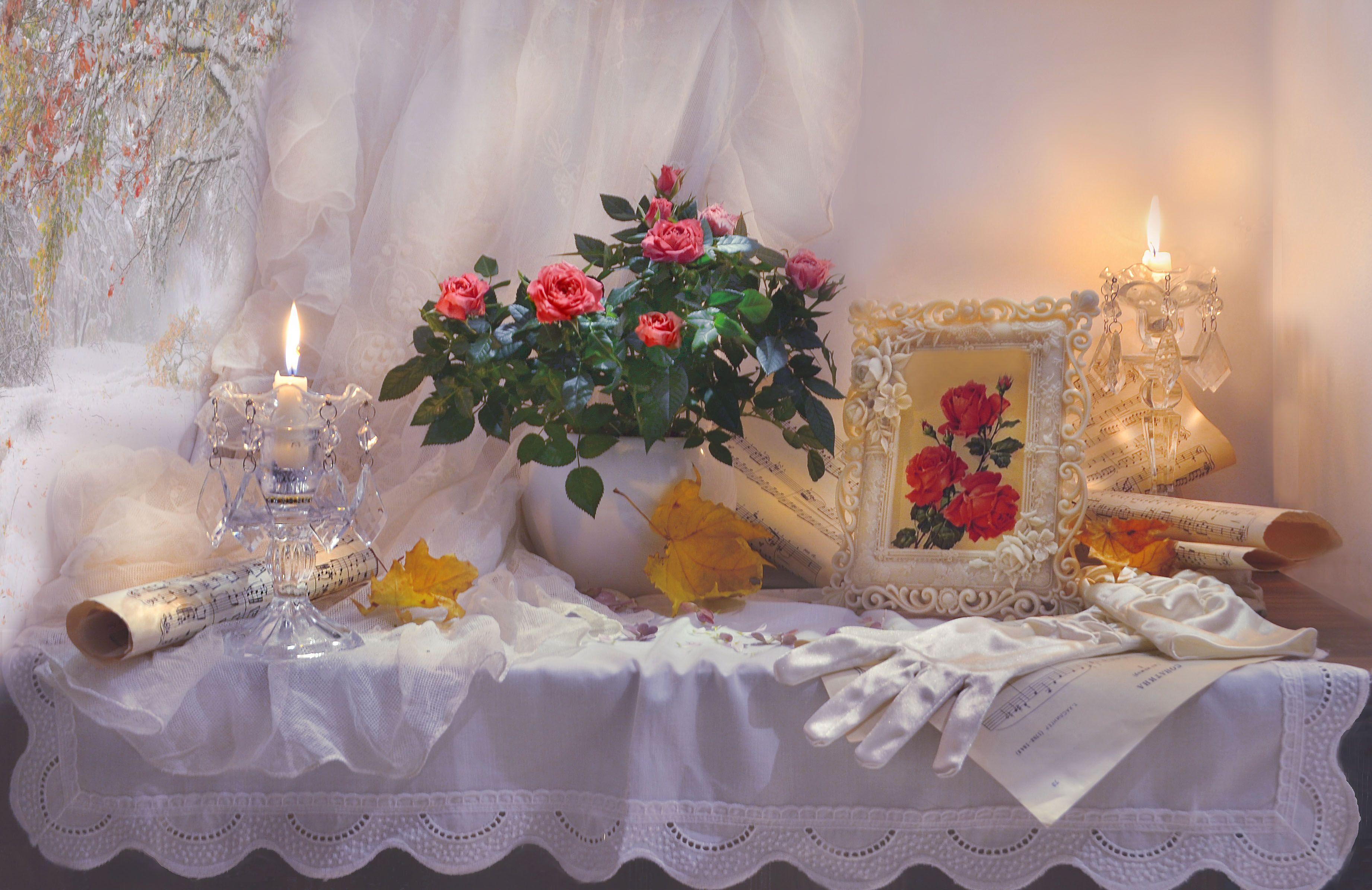 still life, натюрморт, цветы,розы, натюрморт,  зима, декабрь, свечи, ноты, перчатки, стихи, кленовые листья, акварель \, Колова Валентина