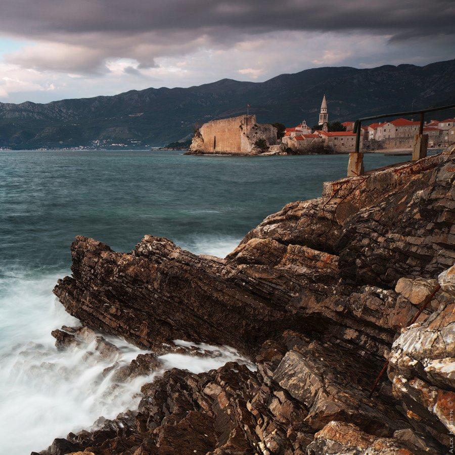 черногория, адриатика, море, сумерки, волны, старый, город, Alexander Martynov