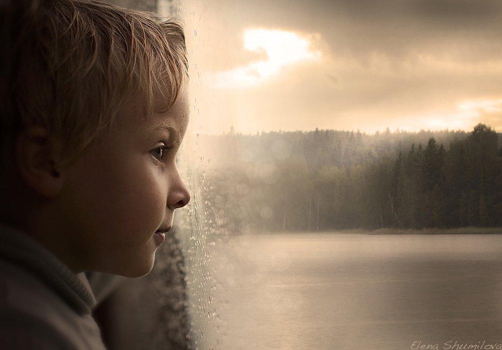 дождь, ребёнок, озеро, профиль, Elena Shumilova
