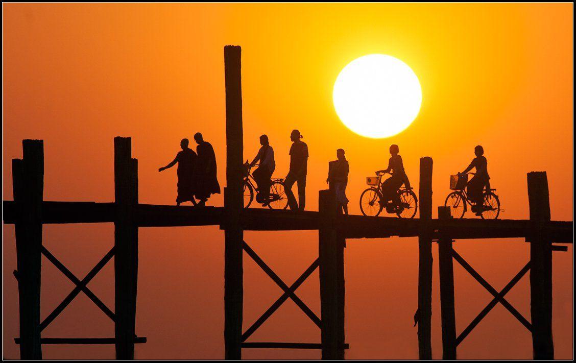 """бирма, мандалай, мост, \""""у, бейн\"""", Yury Pustovoy"""