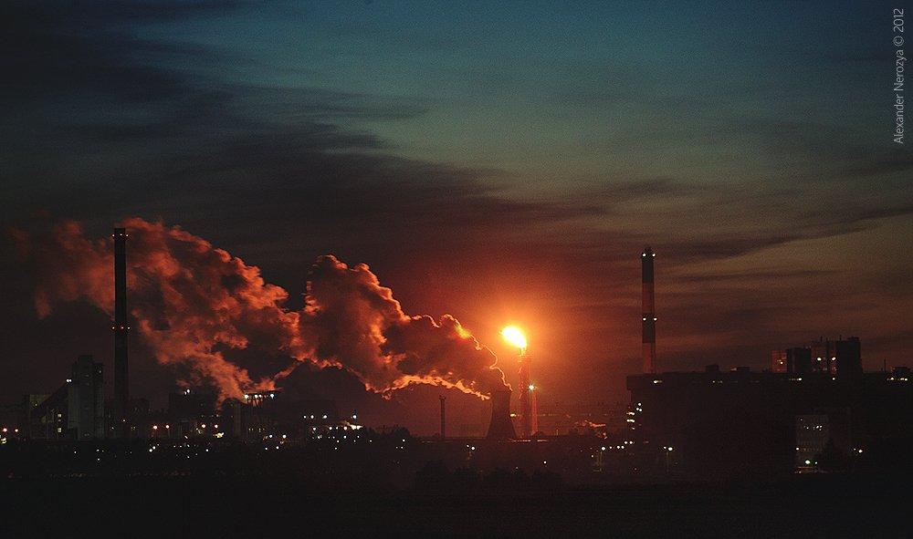 завод, ночь, факел, градирни, алтай, индустриальный, фабрика, дым, Horimono