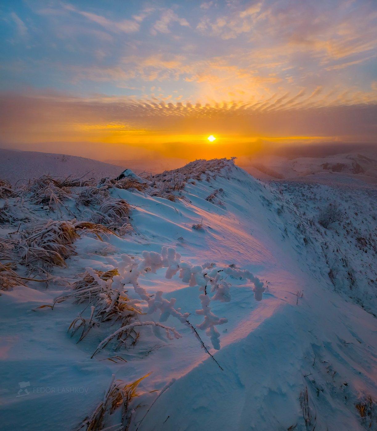 ставропольский край, ставрополье, зима, гора, стрижамент, степь, склон, снег, облака, трава,, Лашков Фёдор
