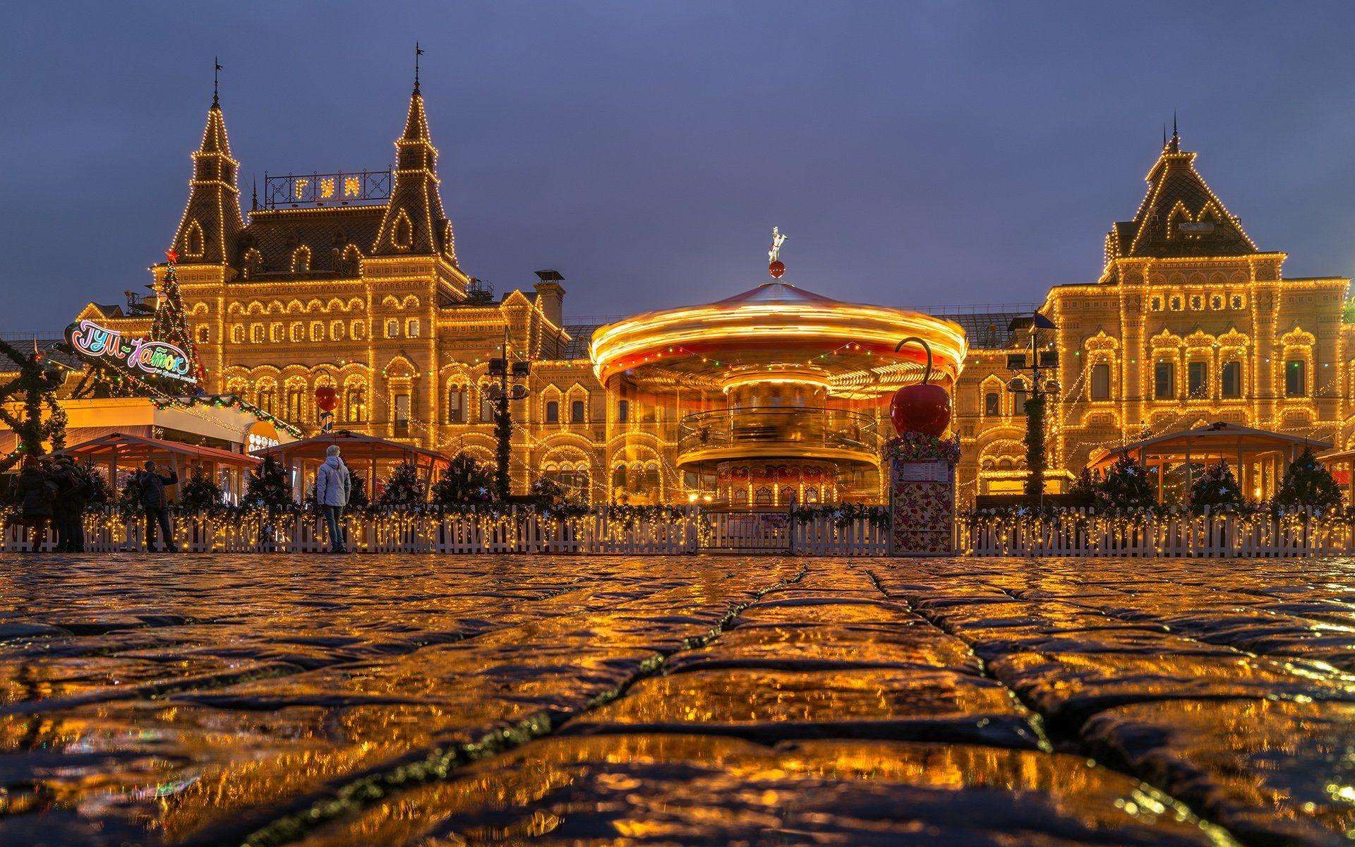 город, москва, гум, красная, площадь, отражение, карусель, Юрий Дегтярёв