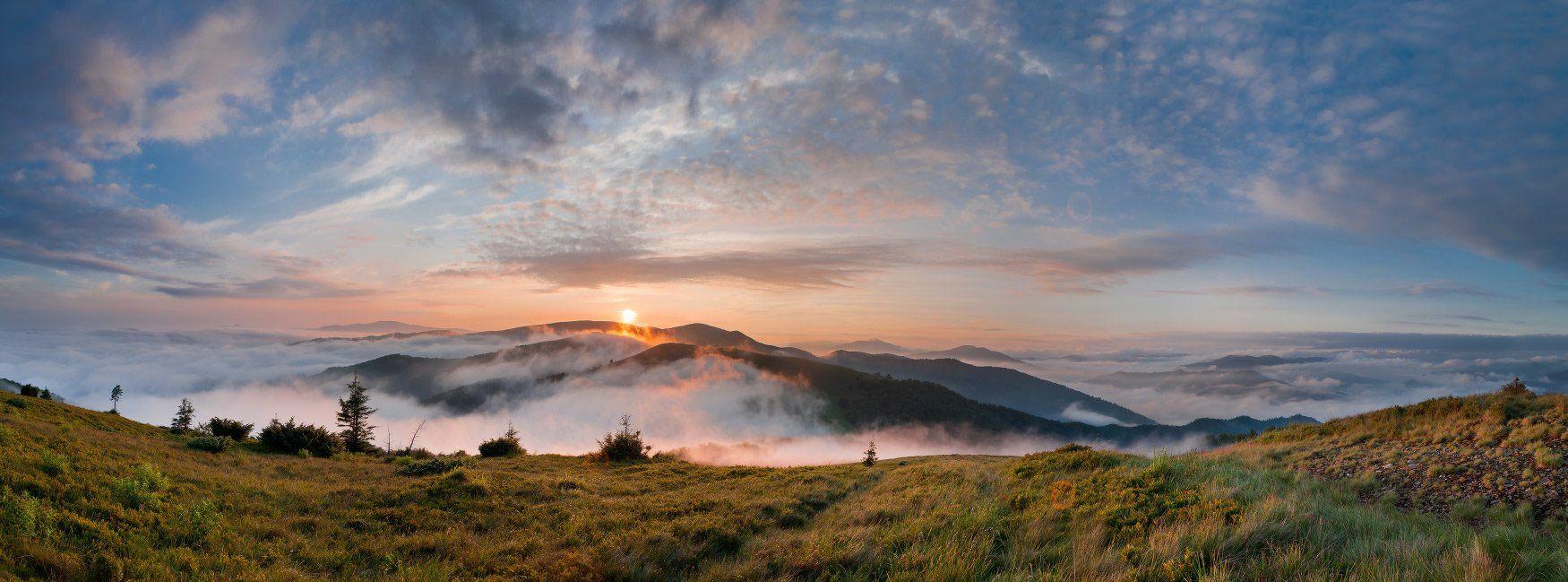 карпаты, горы, вечер, туман, небо, Любомир Тригубишин