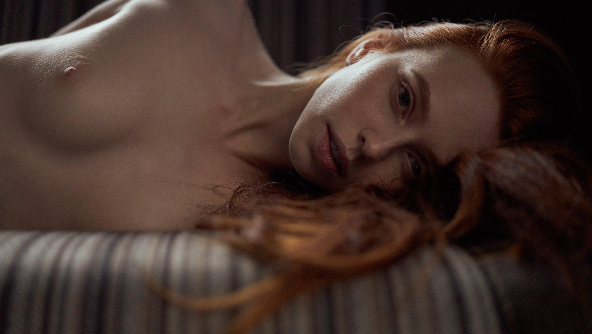 girl, at home, natural light, nude, ginger, nice, face, red, red hair, beautiful, model, Роман Филиппов
