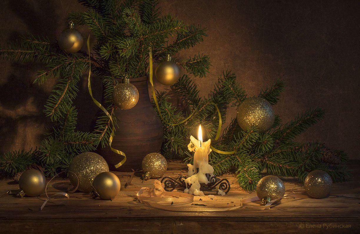 натюрморт,новый год,свеча,ёлка, Елена Рубинская