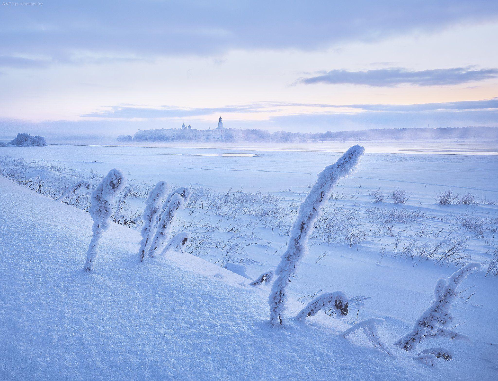 Юрьев Монастырь, зима, снег, туман, Кононов Антон
