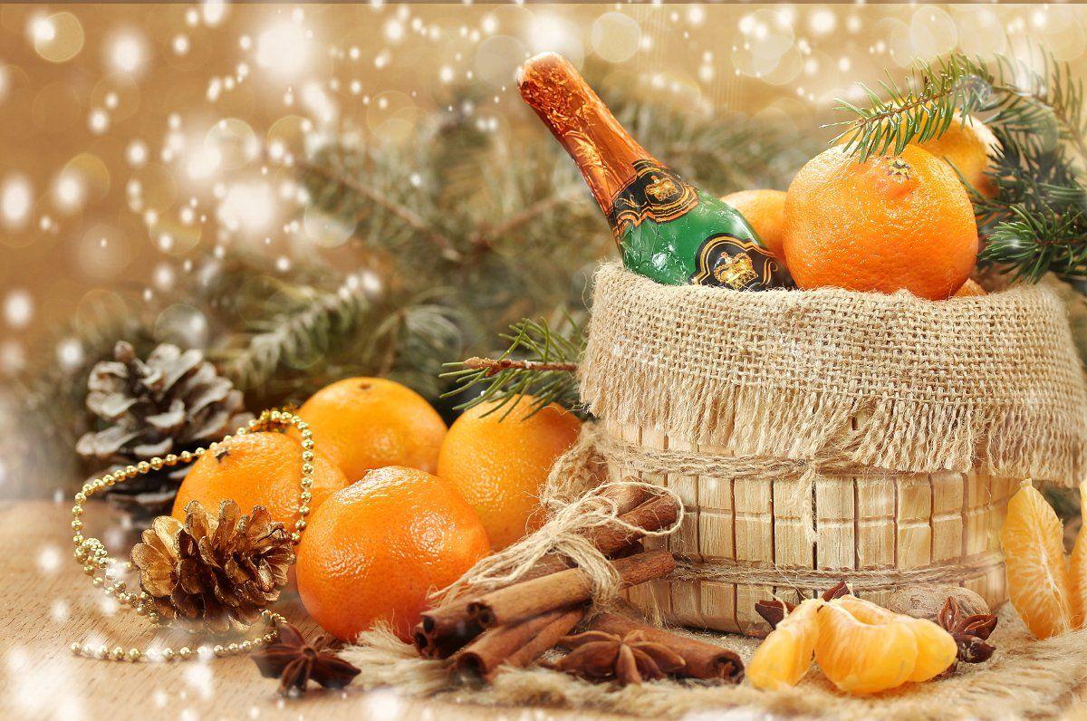 натюрморт, праздник, новый год, мандарины, ель, Шруб (Беляева) Татьяна