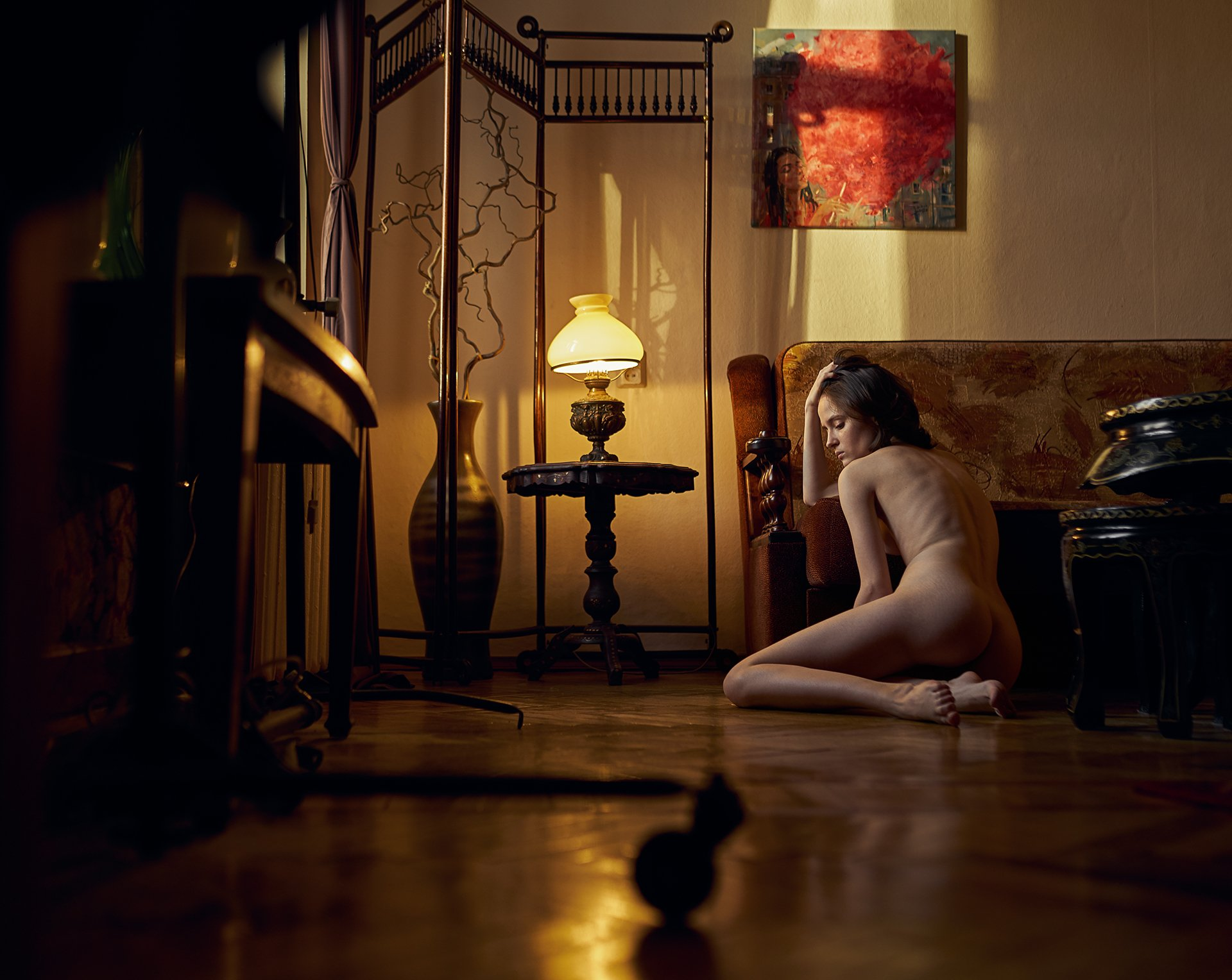 girl, nude, naked, natural light, at home, saint-petersburg, indoors, spb, lamp, antique,, Роман Филиппов