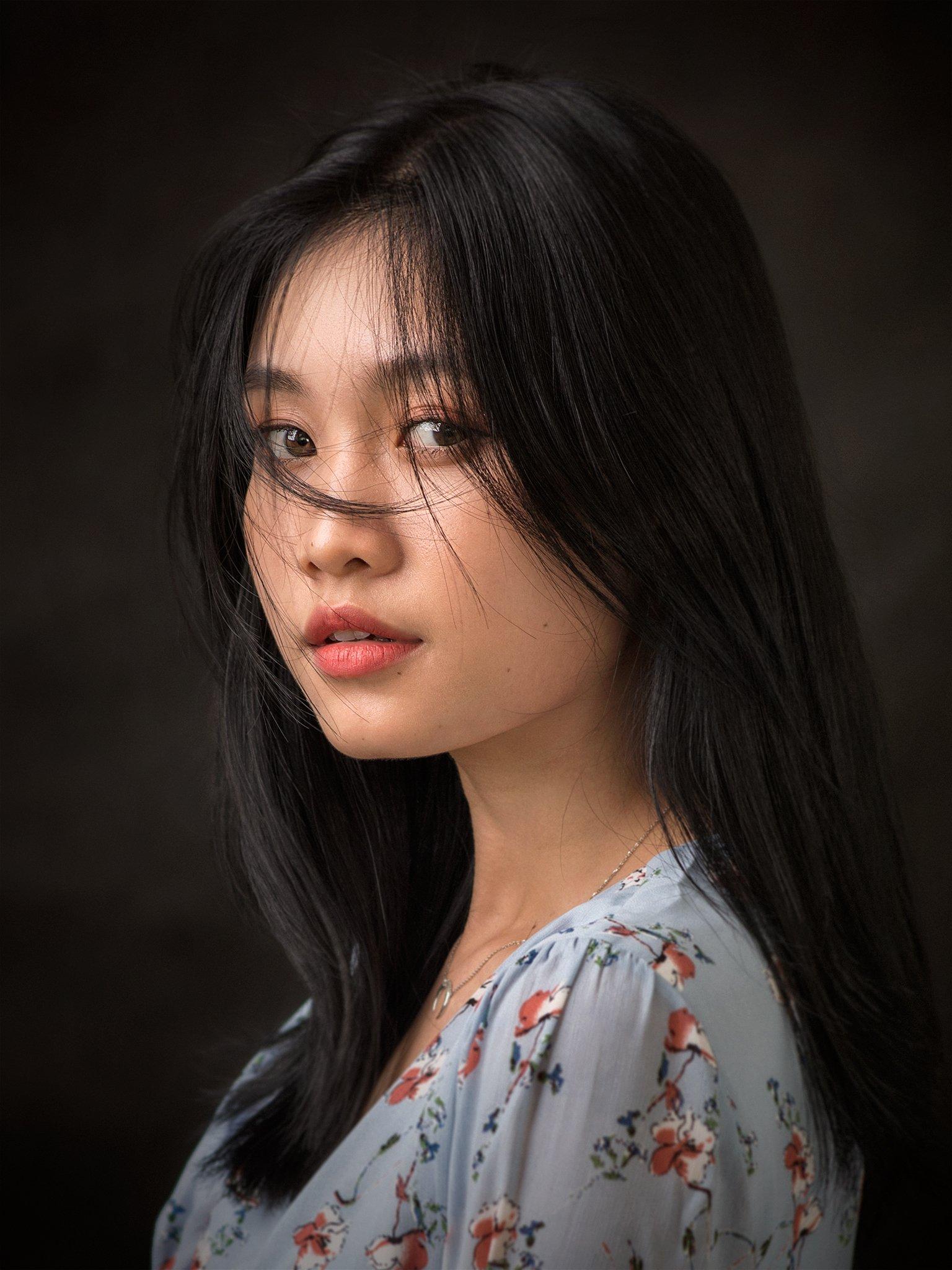 portrait, face, girl, young, beauty, mood, hair, eyes, asian, vietnam, vietnamese, glamour, mood portrait, Hoang Viet Nguyen