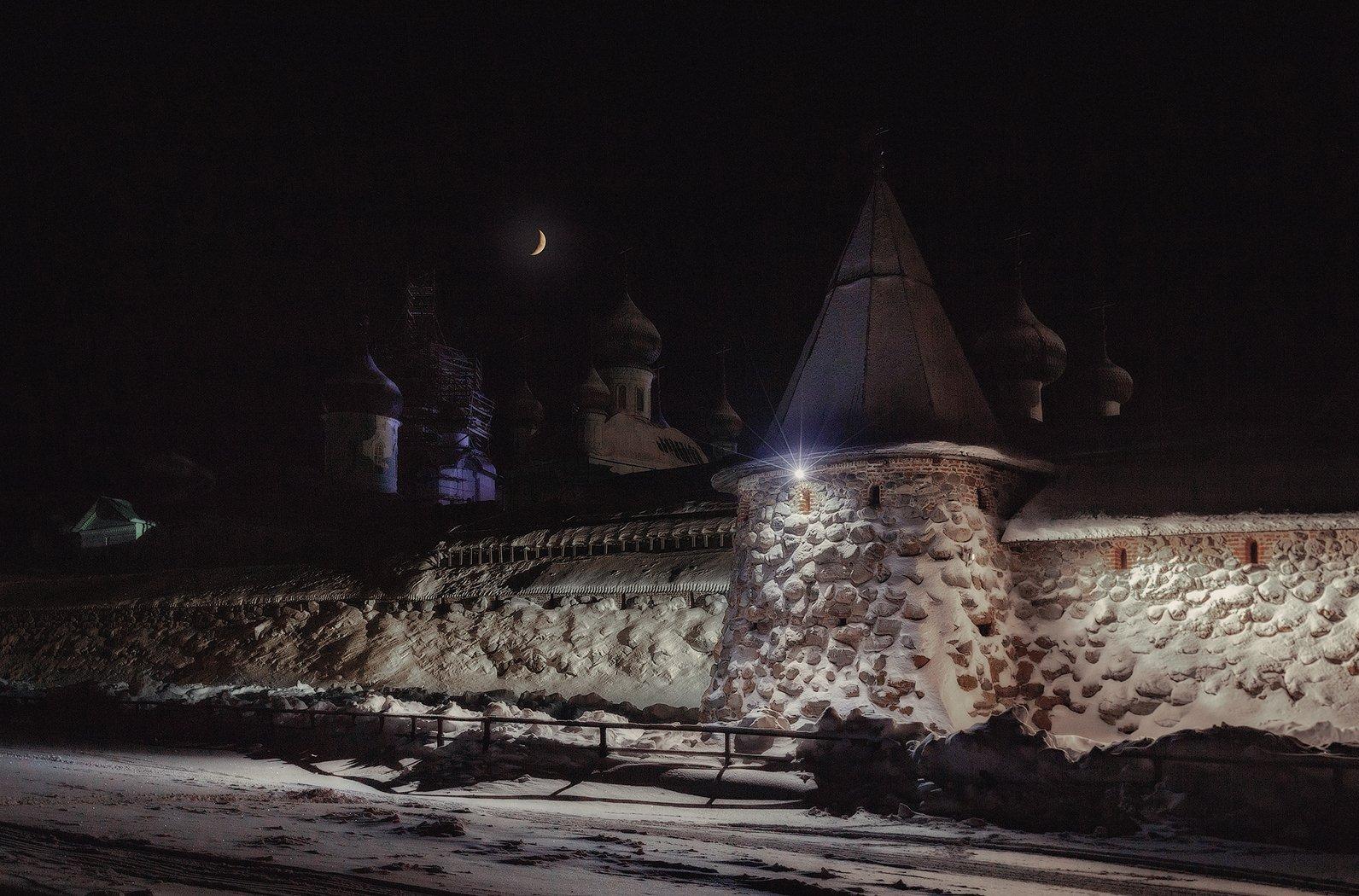 соловки, монастырь, снег, зима, ночь, Липецких Владимир