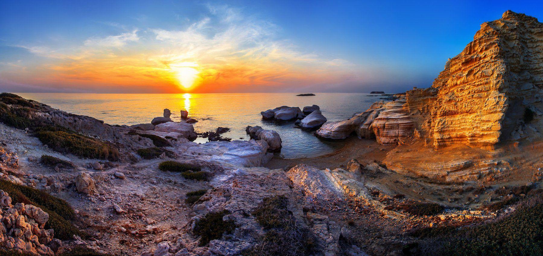 Cyprus, Sea, Sunset, Orange, Evening, Вячеслав Ложкин