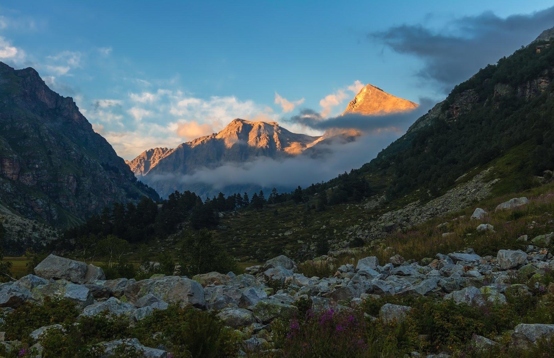 горы, закат, кавказ, альпинизм, Эстелла