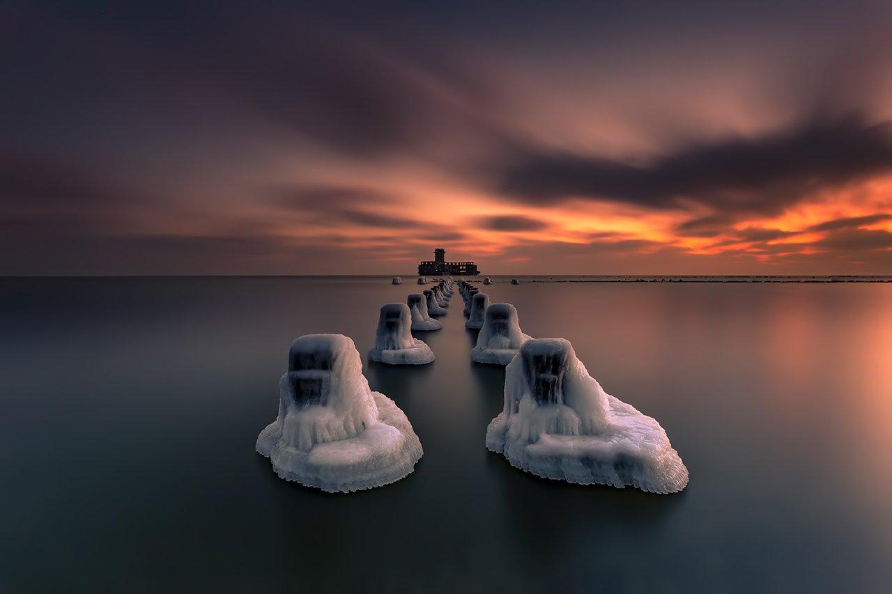 baltic sea, Torpedowaffenplatz Hexengrund, poland, gdynia, babie doly, sunrise, dawn, long exposure, snow, ice, frost, Michal Olech